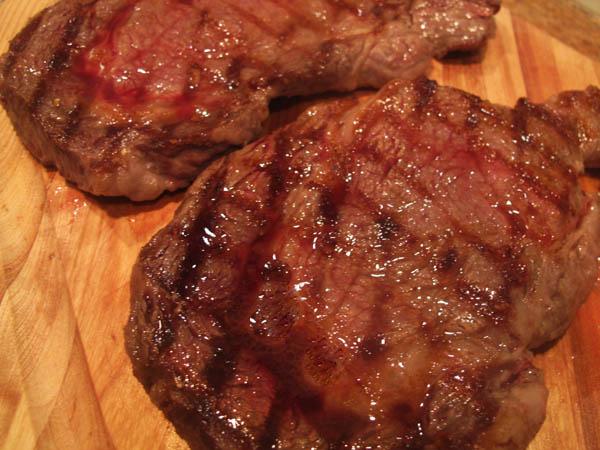 Rib eye steak grilled