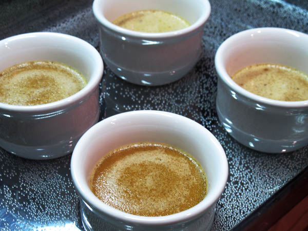 Butterscotch pots de creme waterbath