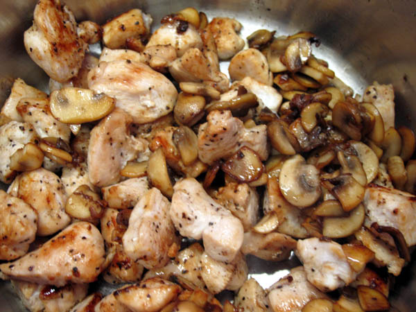 Vol au Vent sauteed chicken mushrooms