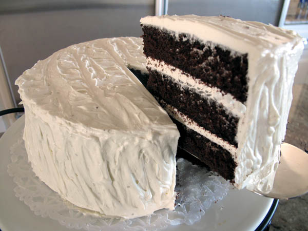 Triple Layer Chocolate Cake slice lift