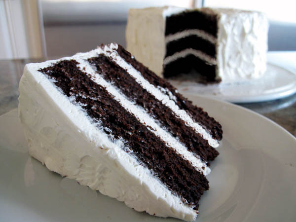 Layered Vanilla Cake Recipes: Triple Layer Deep Dark Chocolate Cake With Vanilla