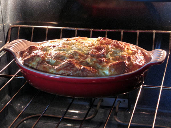 Overnight Cheddar Omelet Baking