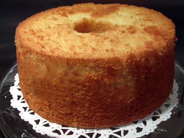 Lemon chiffon cake inverted