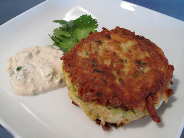 Blue Crab Cakes with Creamy Cayenne Pepper Sauce