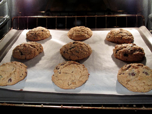 Peanut Butter Chocolate Chip Cookies baking
