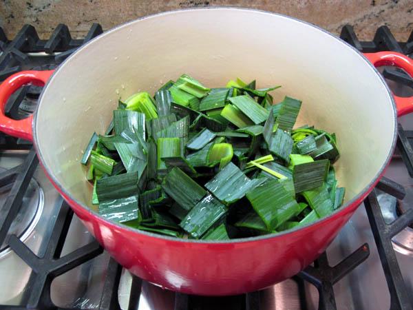 Leek potato soup dark greens