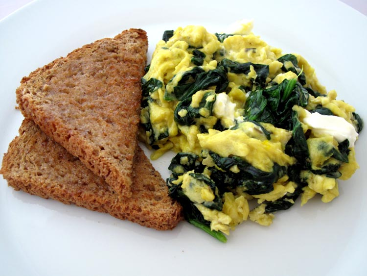 Scrambled eggs spinach cream cheese