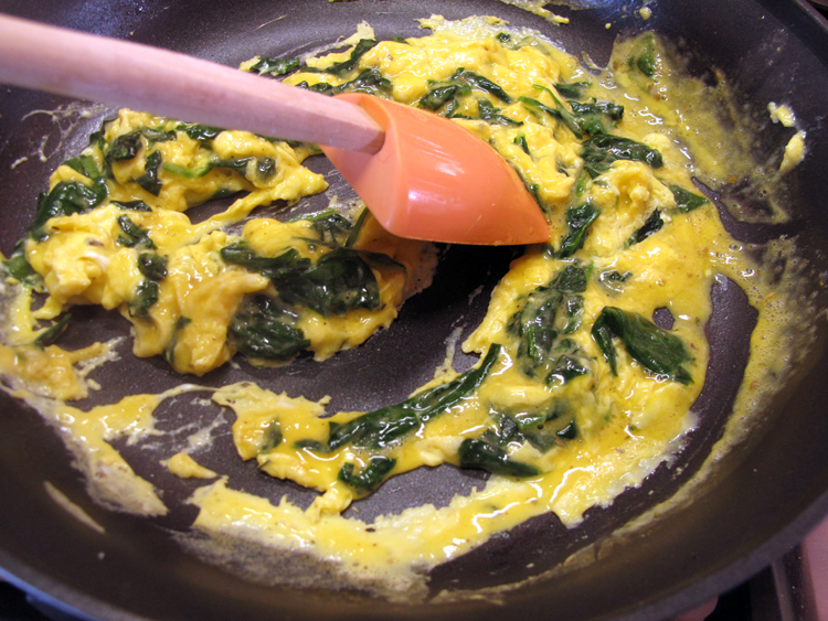 Scrambled eggs stir