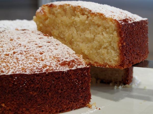 Almond cake cut