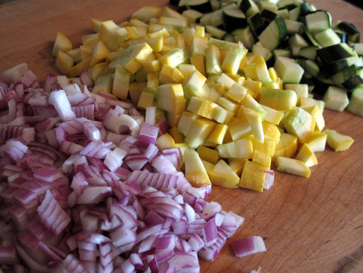 Summer vegetables diced