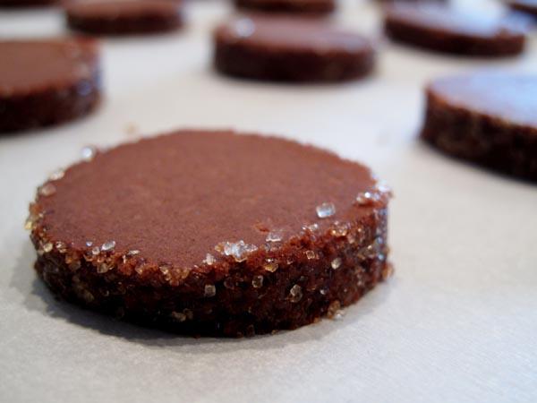 Dark Chocolate Butter Cookies unbaked sheet