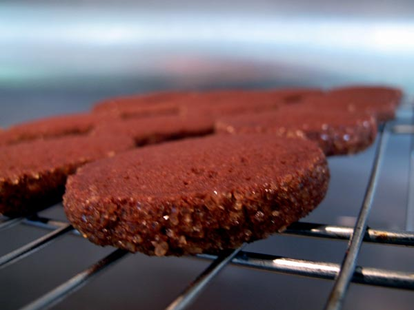 Dark chocolate butter cookies cooling