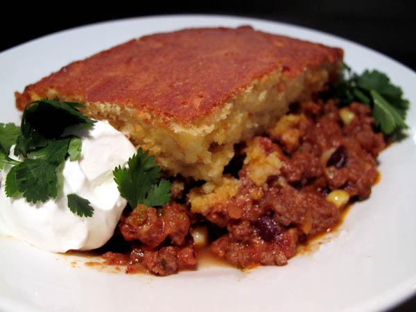 Cornbread tamale serving