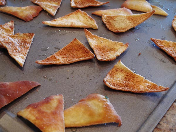 Pita chips baked