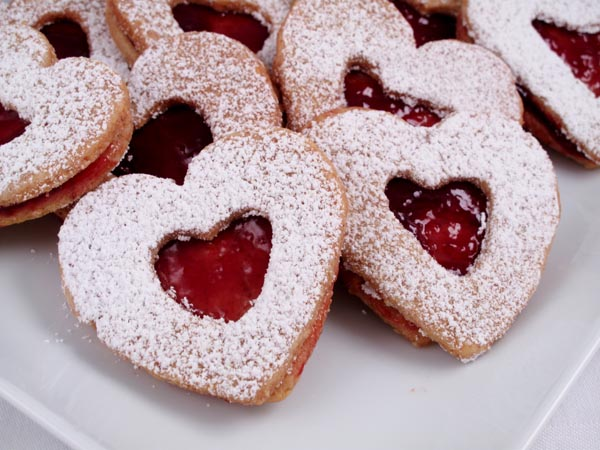 Heart Shaped Linzer Nut cookies