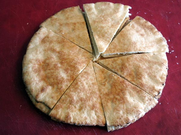 Pita bread cut