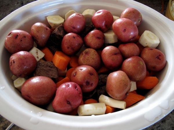 Guinness beef stew veggies