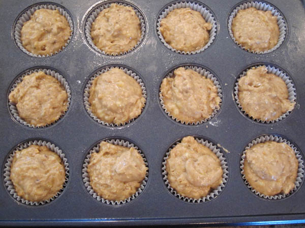 Banana nut muffin batter