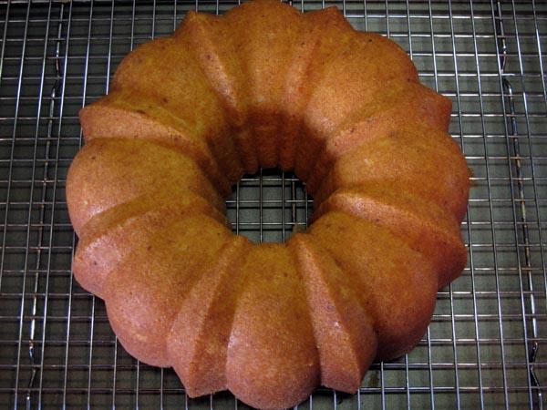 Lemon bundt cake baked