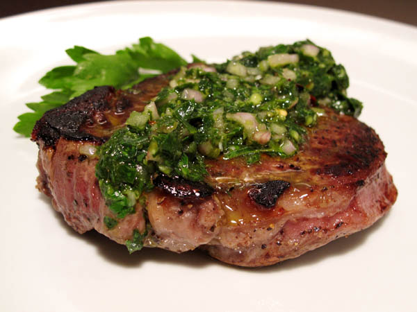 Pan Seared Filet Mignon Chimichurri Sauce
