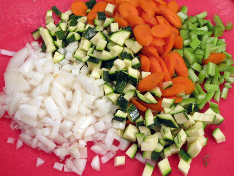 Hearty Rotisserie Chicken Soup vegetables chopped