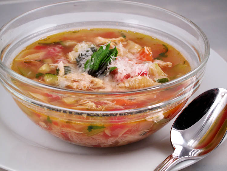 Hearty Rotisserie Chicken Soup with Pasta Shells, Tomatoes, and Zucchini1