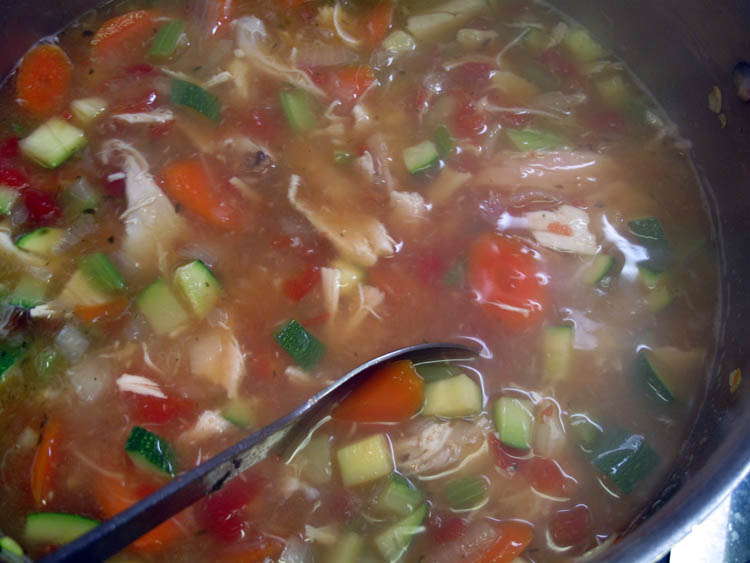 Hearty Rotisserie Chicken Soup cooking