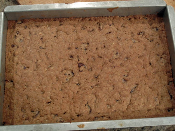 Date Nut Brownies baked