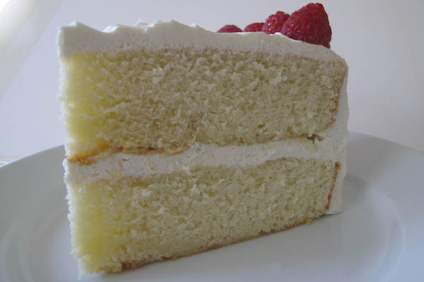 moist vanilla layer cake with fluffy buttercream frosting