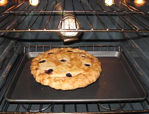 Blueberry pie baking
