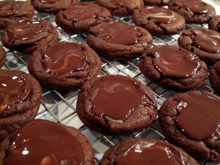 Andes Mint Chocolate Brownie Cookies rack