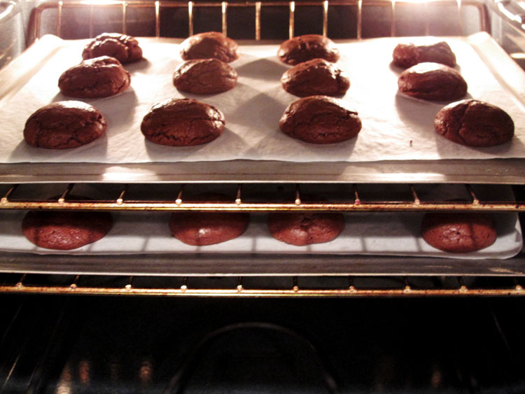 Andes Mint Chocolate Brownie Cookies baking