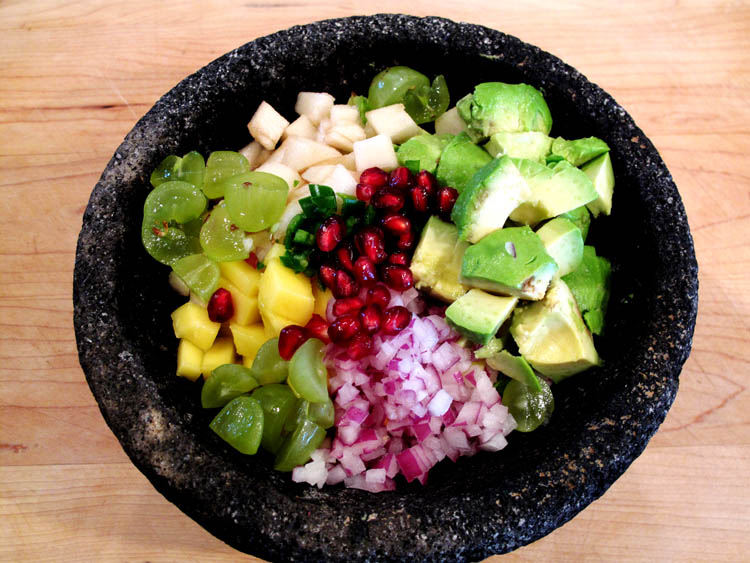 Holiday Fruit Filled Guacamole bowl