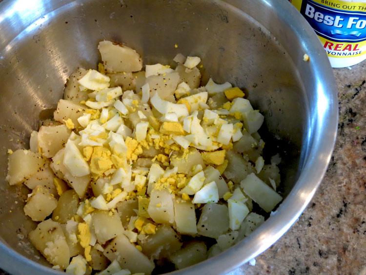 Classic American Potato Salad cut potatoes egg