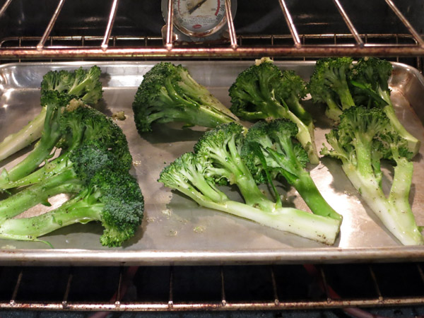 Roasted Broccoli pre bake pan