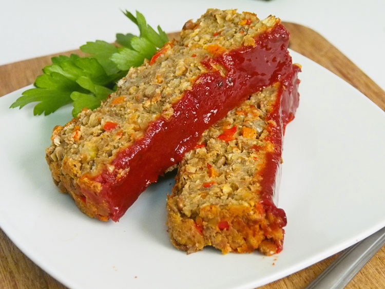 Best Meatless Meatloaf slice