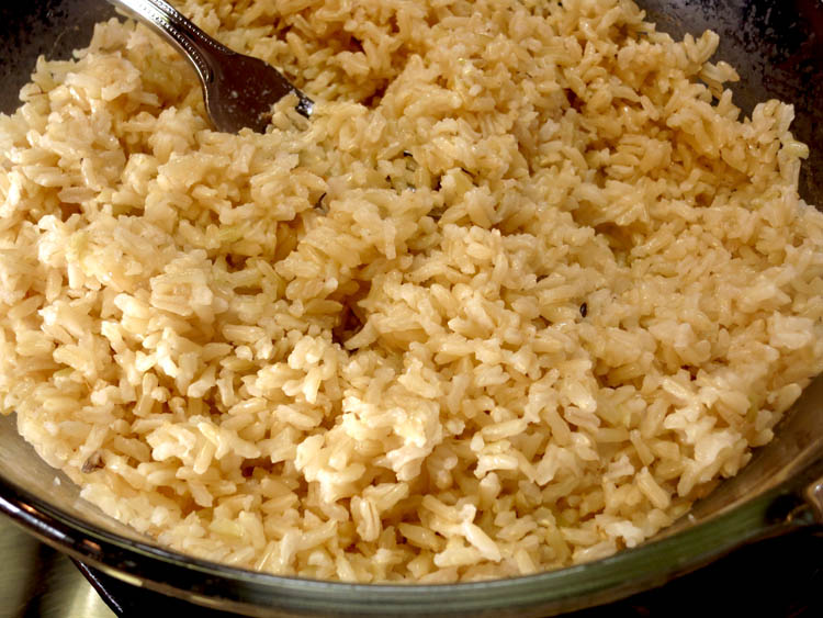 Brown rice cooked