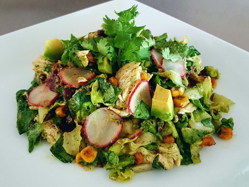 Mexican chicken salad spicy avocado dressing