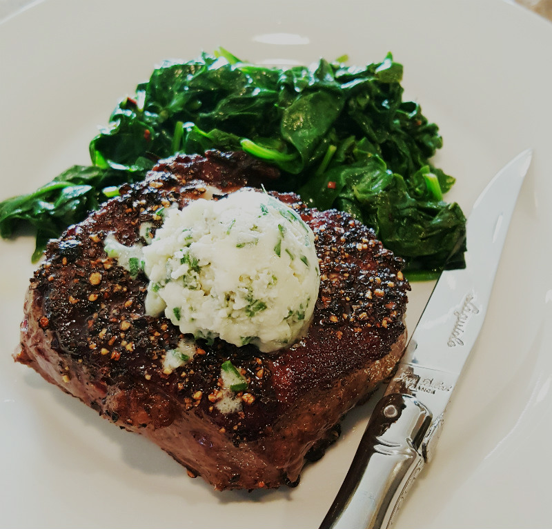 Pepper Crusted Filet Mignon Blue cheese Chive Butter 1